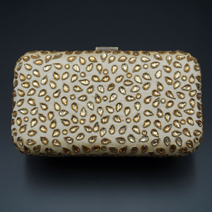 Khushi  Cream- Gold Kundan Clutch Bag