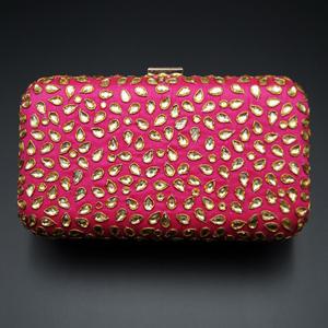 Khushi  Pink- Gold Kundan Clutch Bag