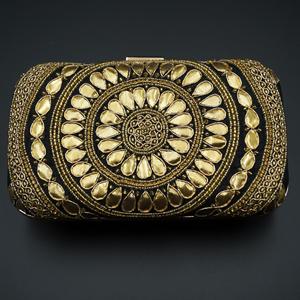 Garj Black - Gold Gota Patti Clutch Bag