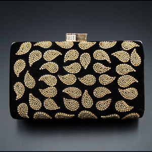Johi Black- Gold Diamante Clutch Bag
