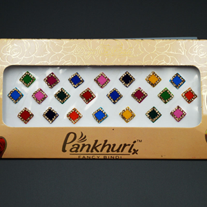 Pankhuri - Velvet Multi Pack of Square Gold Diamante Bindi-