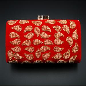 Johi Red- Gold Diamante Clutch Bag