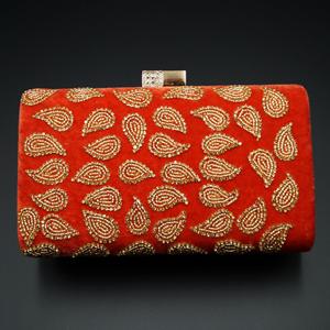 Johi Peach- Gold Diamante Clutch Bag