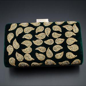Johi Green- Gold Diamante Clutch Bag