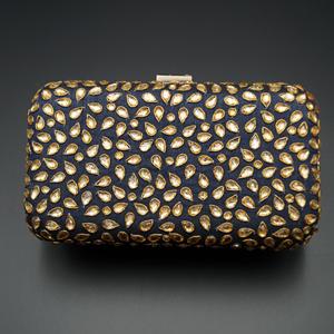 Khushi Blue- Gold Kundan Clutch Bag