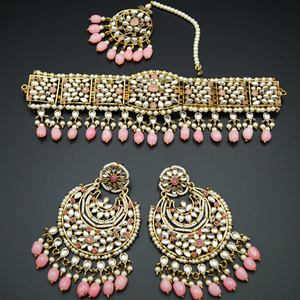Neeta - Baby Pink/ White Kundan Choker Necklace Set - Gold