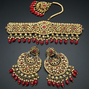 Neeta - Pink/Gold Kundan Choker Necklace Set - Gold