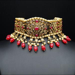 Neeta - Pink/Gold Kundan Choker Necklace Set - Gold