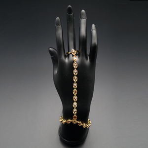 Chotu Polki Stone Hath Panjas - Antique Gold