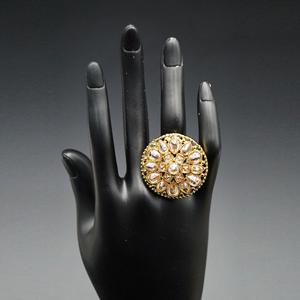 Luit - Gold Polki Stone Ring - AntiqueGold