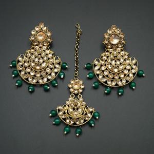 Ciel-Gold Kundan/ Green Beads Earring Tikka Set - Gold