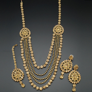 Tista--- Gold Kundan and Diamante Rani Haar Set - Antiquegold