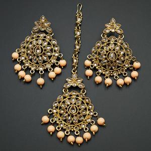 Prema - Peach /Gold Polki Stone Earring Tikka Set - Antique Gold