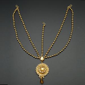 Rabia  Gold Diamante Mathaa Pathi - Gold