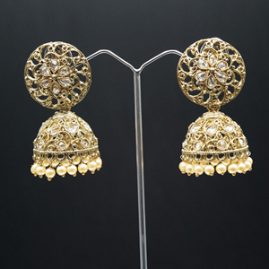 Sneha Polki Stone and Pearl Jhumka- Antique Gold
