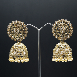 Hiral Polki Stone and Pearl Jhumka- Antique Gold