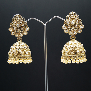 Anya Polki Stone and Pearl Jhumka- Antique Gold
