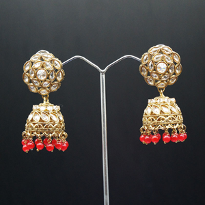 Vansha Polki Stone /Red Beads Jhumka- Antique Gold
