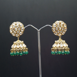 Suhani Polki Stone /Green Beads  Jhumka- Antique Gold