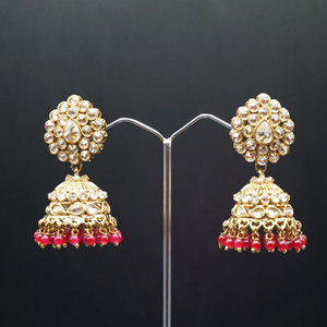 Gunjan Polki Stone /Red Beads Jhumka- Antique Gold