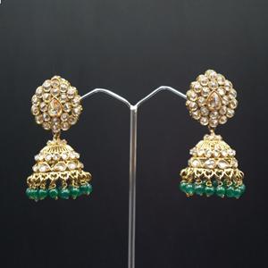 Gunjan Polki Stone /Green Beads Jhumka- Antique Gold
