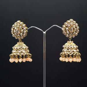 Gunjan Polki Stone /Light Peach Beads Jhumka- Antique Gold