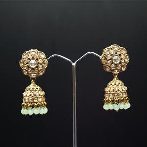 Gurj Polki Stone /Light Green Beads Jhumka- Antique Gold
