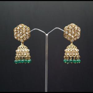 Gunj Polki Stone /Green Beads Jhumka- Antique Gold