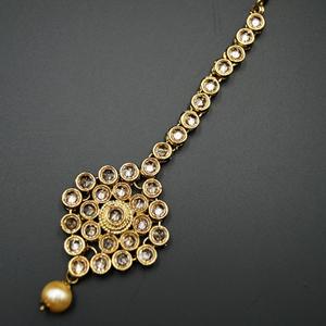 Kia - Gold Polki Stone Tikka - Antique Gold