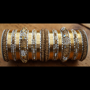 Isai Gold (LCT)/White Diamante Bangle Set