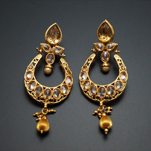 Nylu Gold Polki Stone and pearl Earrings - Gold