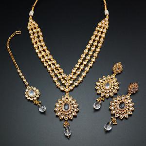 Lija White Polki Stone Necklace Set - Gold