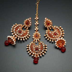 Lijali White/Red Polki Stone and Pearl Earring Tikka Set - Gold