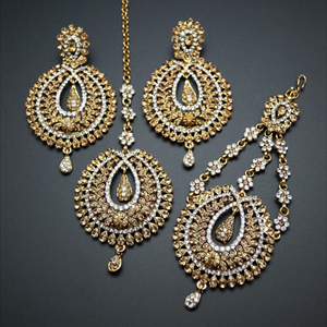 Kyra Gold and White Diamante Earring Tikka and Passa/Jhoomer Set - Gold