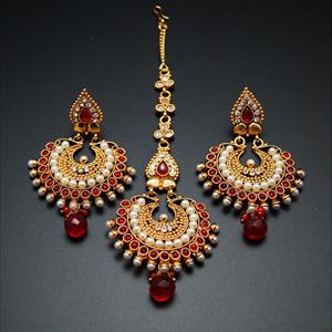 Kuja Red/White Polki Stone and Pearl Earring Tikka Set - Gold