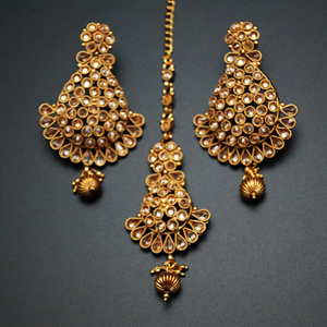 Sami- Gold Polki Stone Earring Tikka Set -   Gold