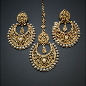 Olena-Gold Diamante Earring Tikka Set - Gold