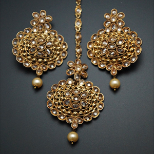 Edda Gold Polki Stone and Pearl Earring Tikka Set - Gold