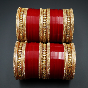 Rabia Bridal Choora Red - Antique Gold