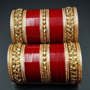 Vayu Bridal Choora Red - Antique Gold