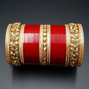 Vayu Bridal Choora Red - Antique Gold