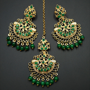 Asha- Green/Gold Diamante Earring Tikka Set - Gold
