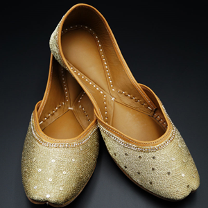Mehal- Gold Colour Leather Jutti