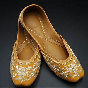 Keva - Mustard Yellow - Gold Colour Leather Jutti