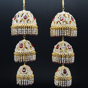 Yuva White/Red Diamante Kaleeray - Gold