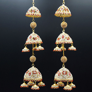 Punj White/Red Diamante Kaleeray - Gold