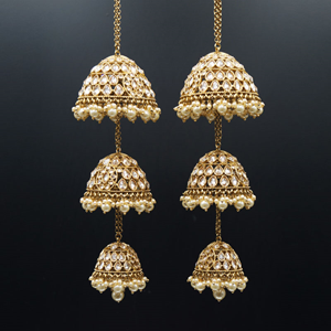 Reet Gold Polki Stone Kaleeray - Antique Gold