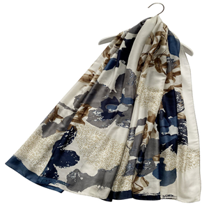 Large Floral and Ancient Text Silk Scarf (Navy/Brown)