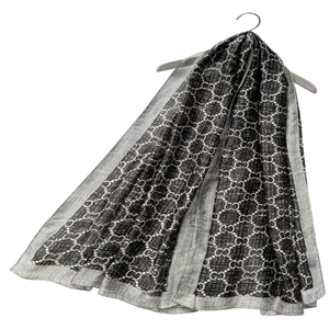 Pearl & Chain Print Silk Scarf (Grey)